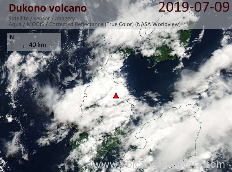Satellite image of Dukono volcano on  9 Jul 2019