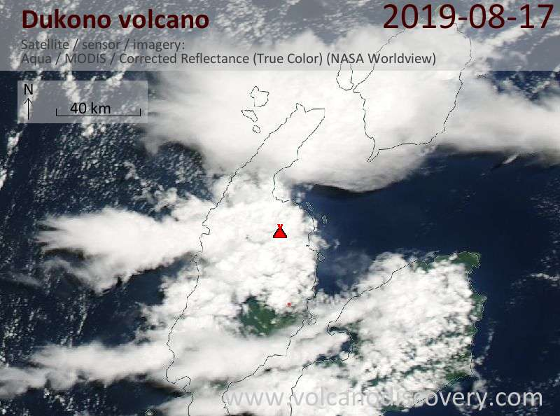 Satellite image of Dukono volcano on 18 Aug 2019