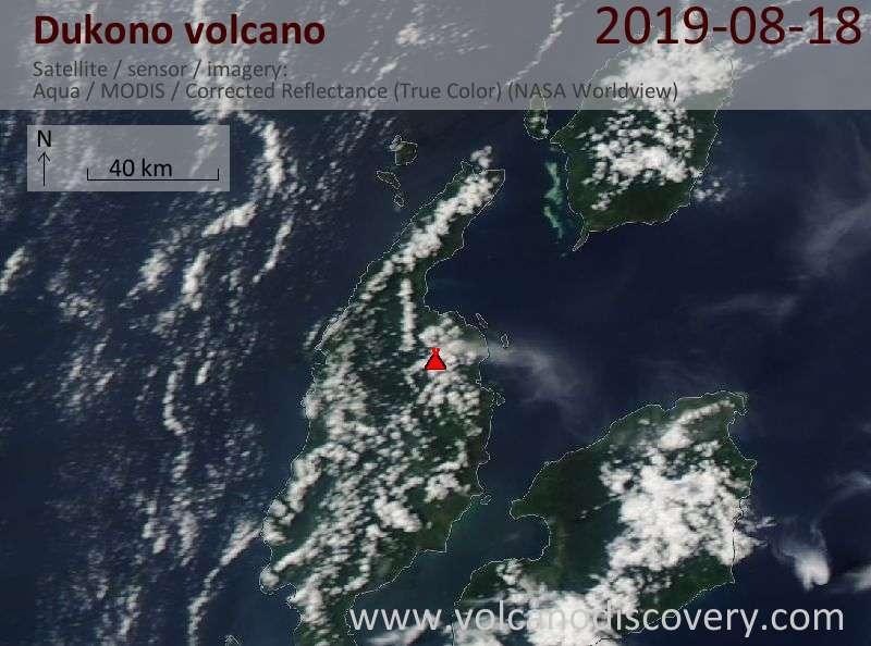 Satellite image of Dukono volcano on 19 Aug 2019