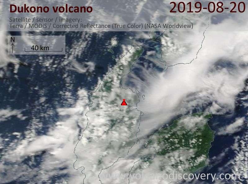 Satellite image of Dukono volcano on 20 Aug 2019