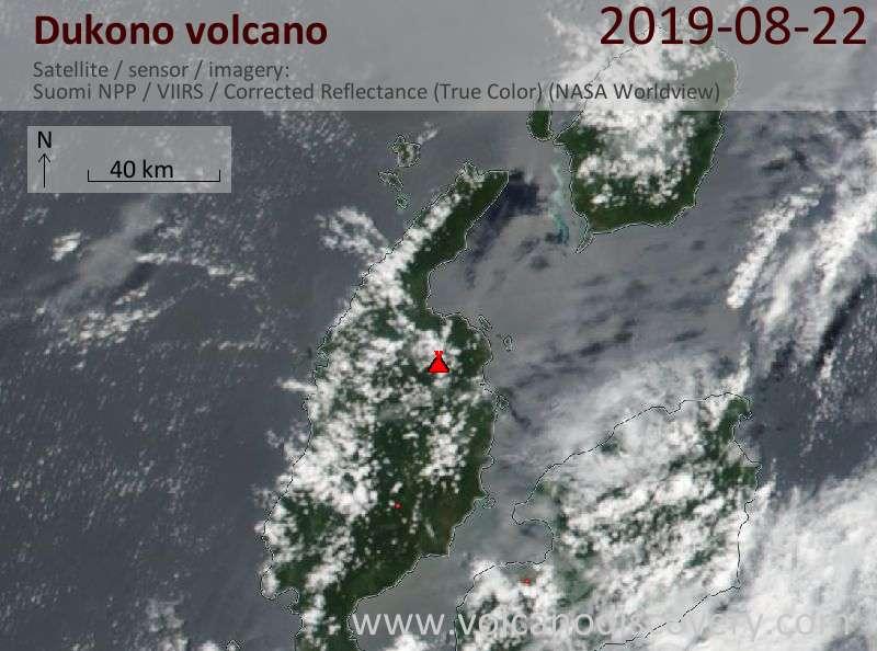Satellite image of Dukono volcano on 22 Aug 2019