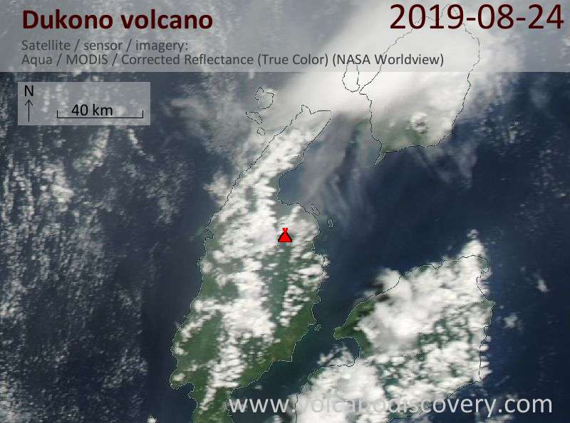Satellite image of Dukono volcano on 24 Aug 2019