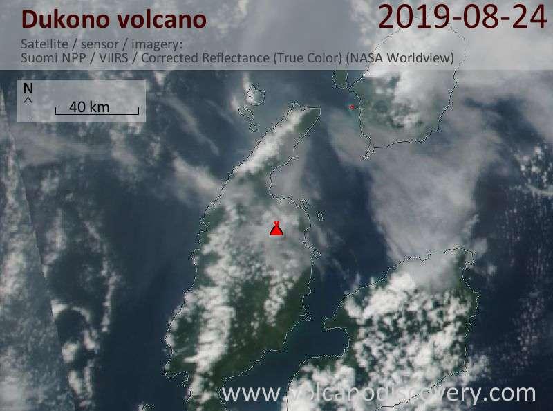 Satellite image of Dukono volcano on 25 Aug 2019