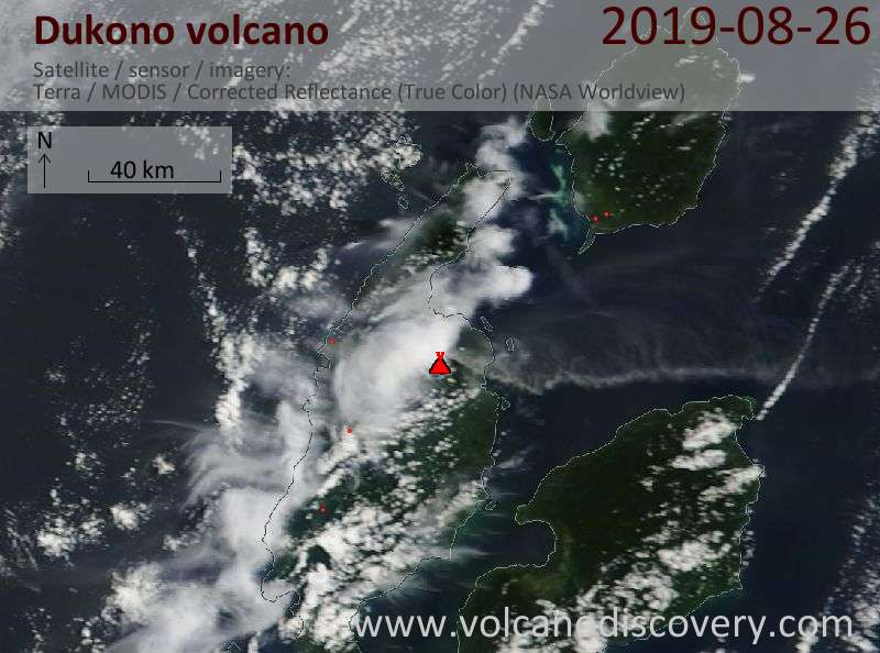 Satellitenbild des Dukono Vulkans am 26 Aug 2019