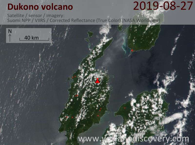 Satellitenbild des Dukono Vulkans am 28 Aug 2019