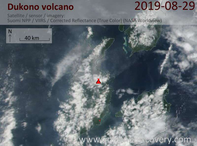 Satellitenbild des Dukono Vulkans am 29 Aug 2019