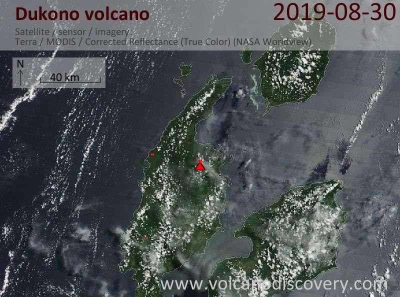 Satellite image of Dukono volcano on 30 Aug 2019