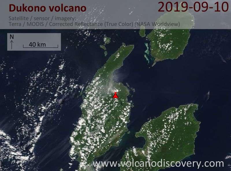 Satellite image of Dukono volcano on 10 Sep 2019