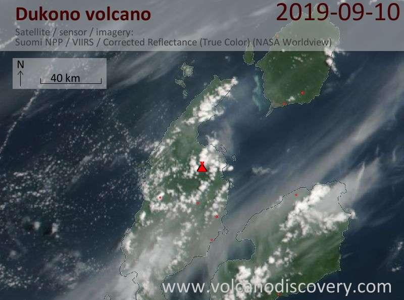 Satellite image of Dukono volcano on 11 Sep 2019