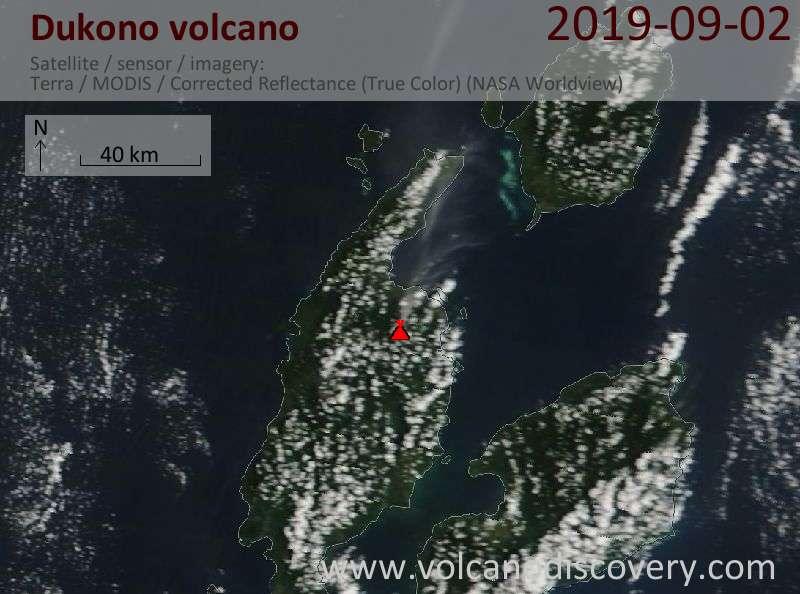 Satellite image of Dukono volcano on  2 Sep 2019