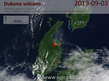 Satellite image of Dukono volcano on  3 Sep 2019