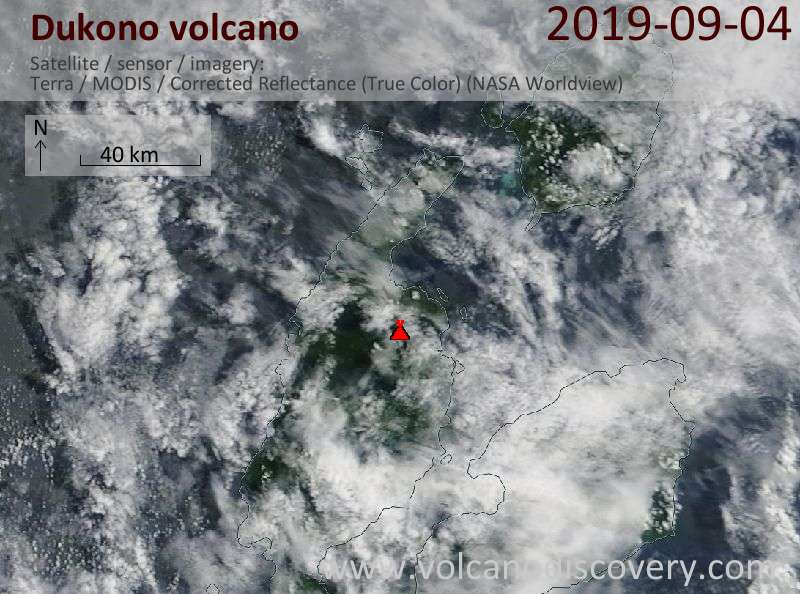 Satellite image of Dukono volcano on  4 Sep 2019