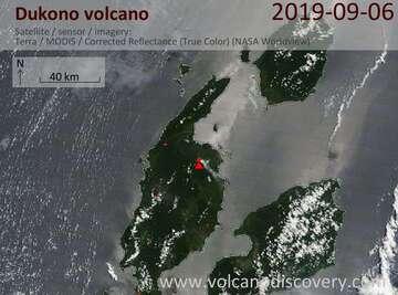 Satellite image of Dukono volcano on  6 Sep 2019