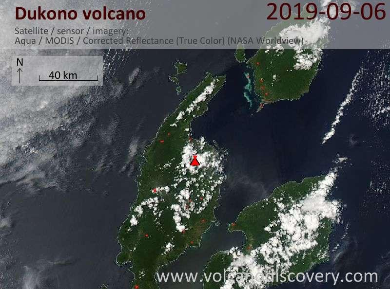 Satellite image of Dukono volcano on  7 Sep 2019