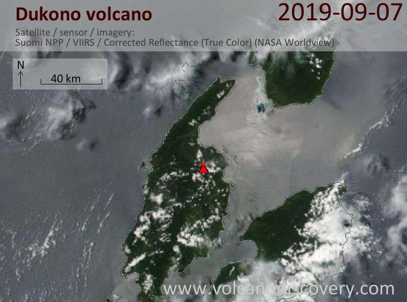 Satellite image of Dukono volcano on  8 Sep 2019