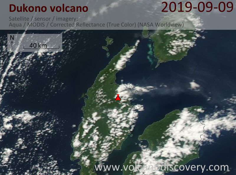 Satellite image of Dukono volcano on  9 Sep 2019