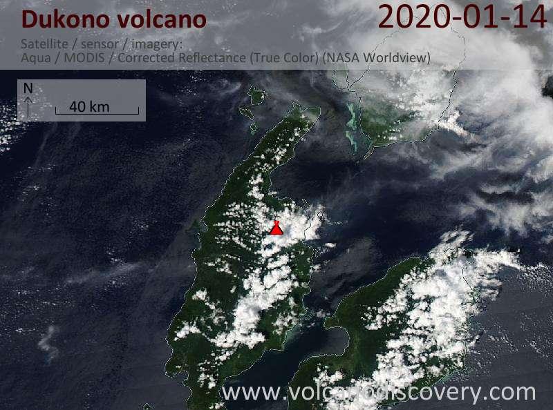 Satellitenbild des Dukono Vulkans am 14 Jan 2020