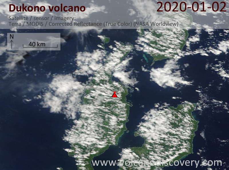 Satellite image of Dukono volcano on  2 Jan 2020