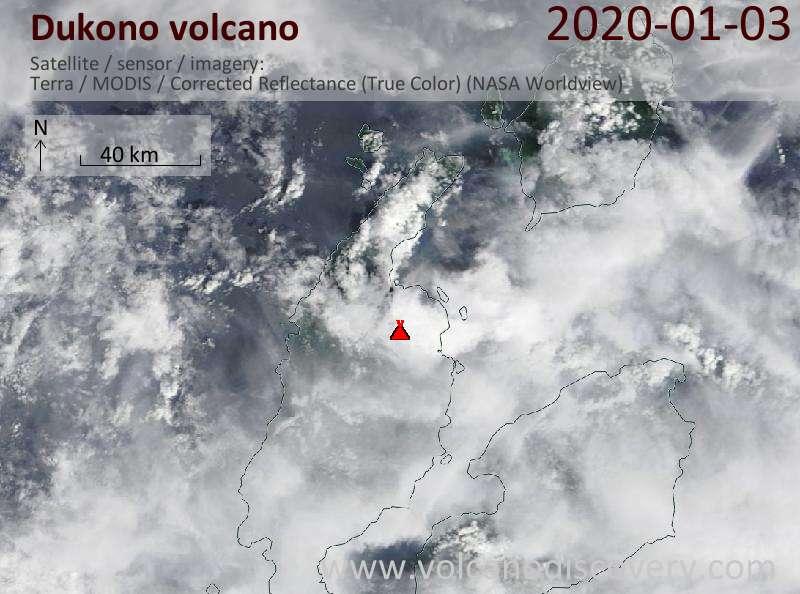 Satellite image of Dukono volcano on  3 Jan 2020