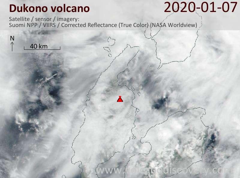 Satellite image of Dukono volcano on  7 Jan 2020