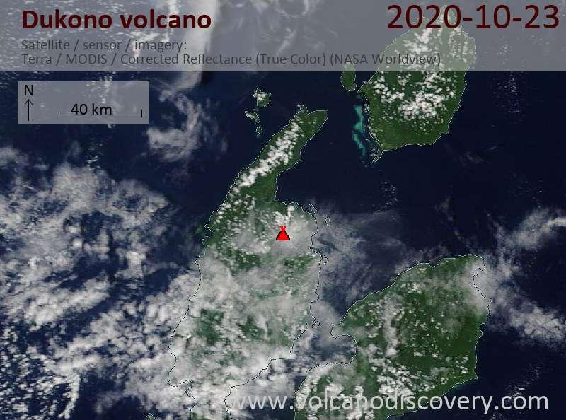 Satellite image of Dukono volcano on 23 Oct 2020