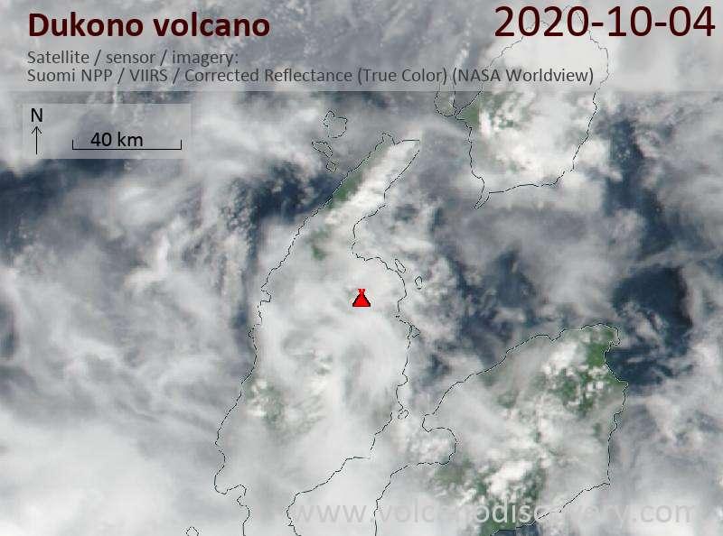 Satellite image of Dukono volcano on  4 Oct 2020