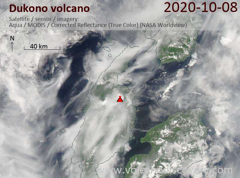 Satellite image of Dukono volcano on  8 Oct 2020