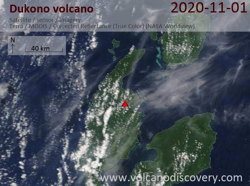 Satellite image of Dukono volcano on  1 Nov 2020