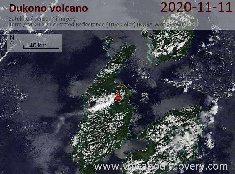 Satellite image of Dukono volcano on 11 Nov 2020