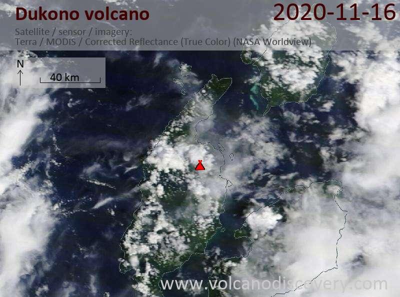 Satellite image of Dukono volcano on 16 Nov 2020