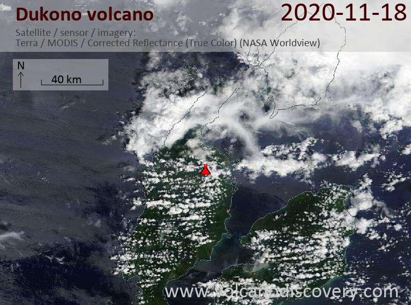 Satellite image of Dukono volcano on 18 Nov 2020