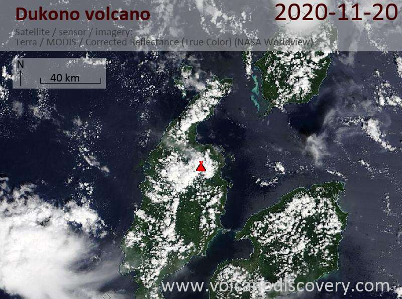 Satellite image of Dukono volcano on 20 Nov 2020