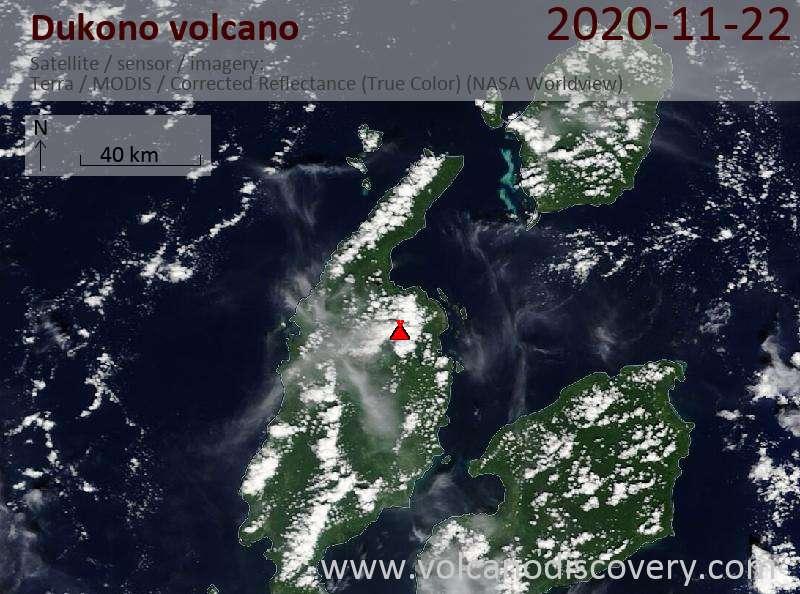 Satellite image of Dukono volcano on 22 Nov 2020