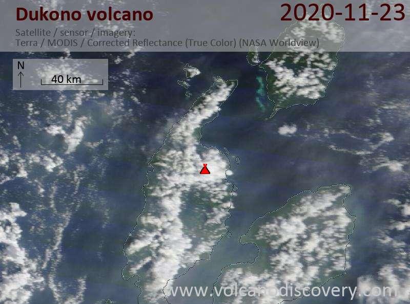 Satellite image of Dukono volcano on 23 Nov 2020