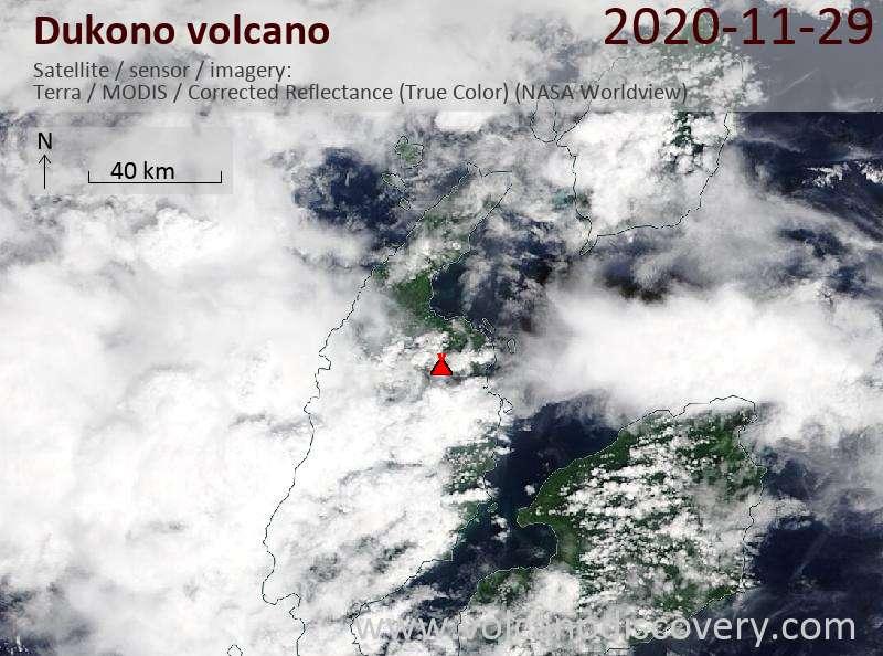 Satellite image of Dukono volcano on 29 Nov 2020