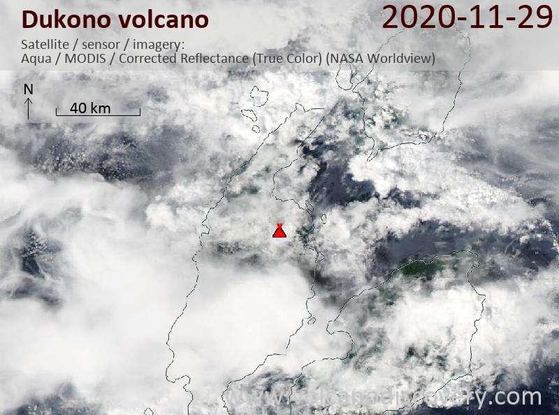 Satellite image of Dukono volcano on 30 Nov 2020