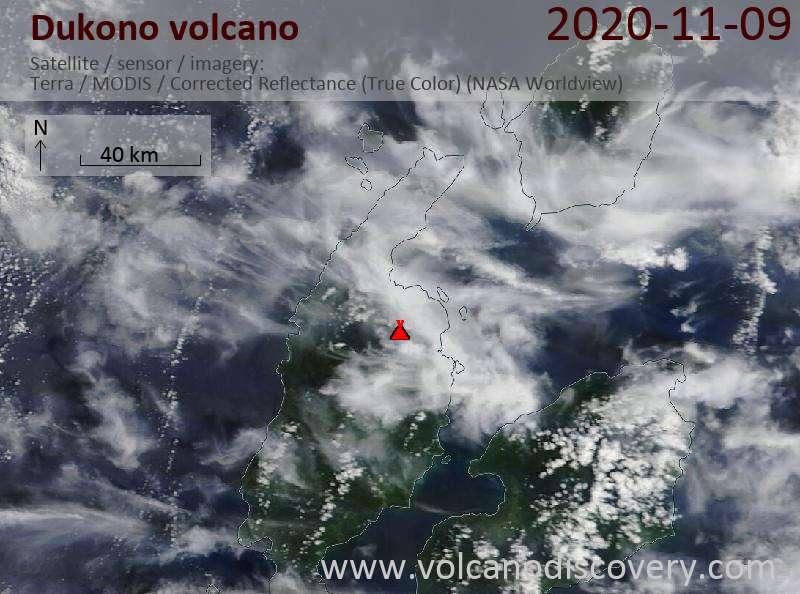 Satellite image of Dukono volcano on  9 Nov 2020