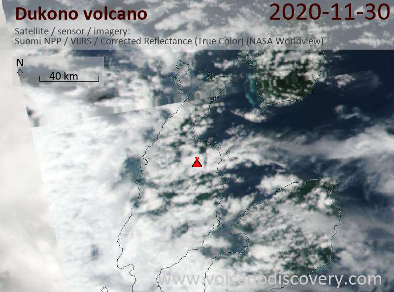 Satellite image of Dukono volcano on  1 Dec 2020