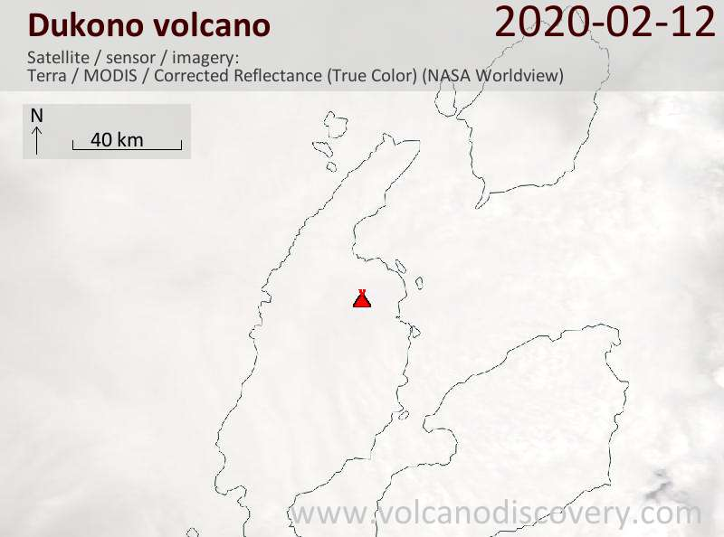 Satellite image of Dukono volcano on 12 Feb 2020
