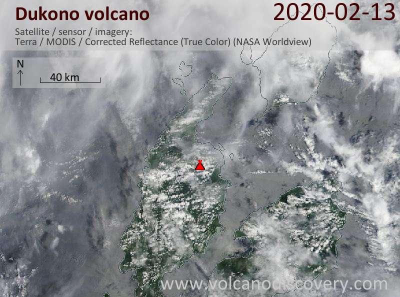 Satellite image of Dukono volcano on 13 Feb 2020