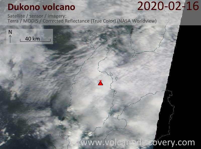 Satellite image of Dukono volcano on 17 Feb 2020