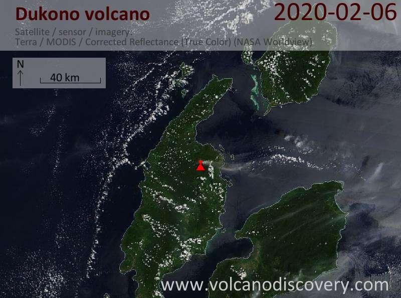 Satellite image of Dukono volcano on  6 Feb 2020