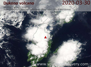 Satellite image of Dukono volcano on 30 Mar 2020