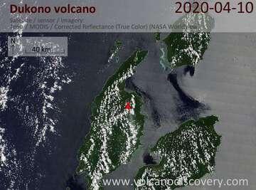 Satellite image of Dukono volcano on 10 Apr 2020