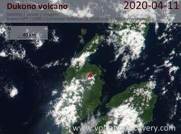 Satellite image of Dukono volcano on 11 Apr 2020