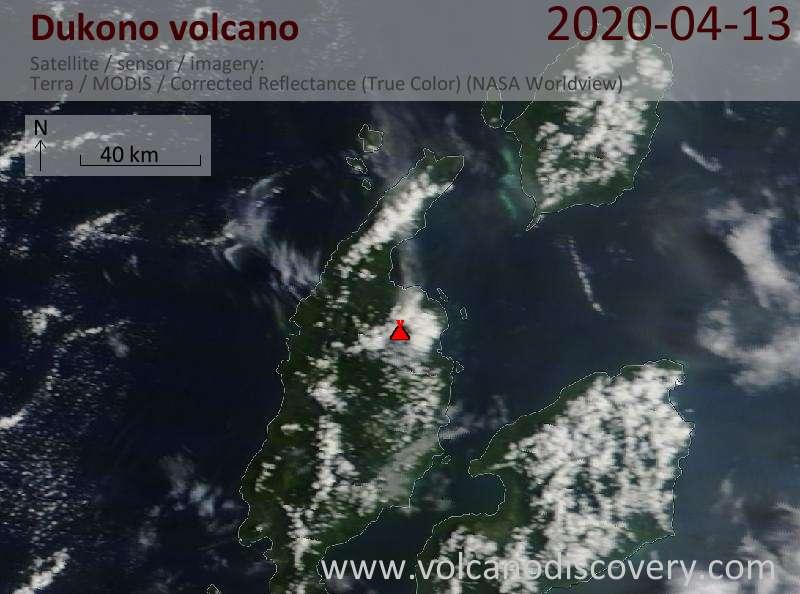 Satellite image of Dukono volcano on 13 Apr 2020