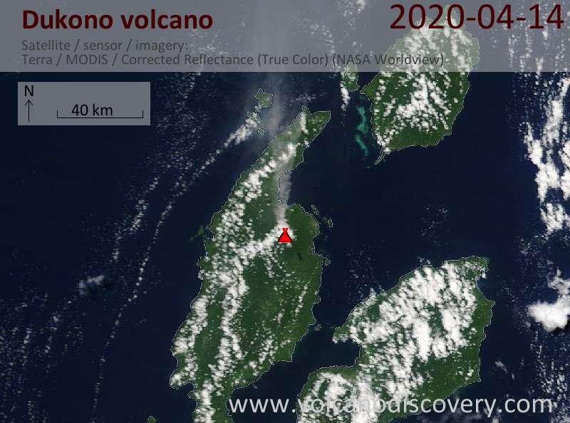Satellite image of Dukono volcano on 14 Apr 2020