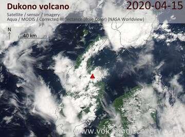Satellite image of Dukono volcano on 15 Apr 2020