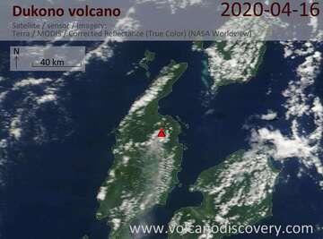 Satellite image of Dukono volcano on 16 Apr 2020