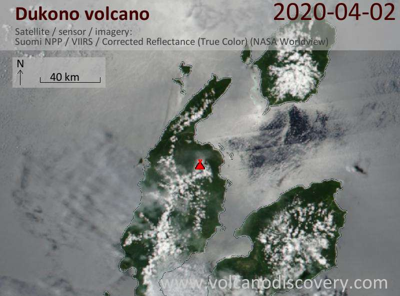 Satellite image of Dukono volcano on  2 Apr 2020